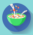 breakfast cereal in bowl filled with milk vector image vector image