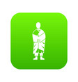 buddhist monk icon digital green vector image vector image