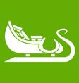 christmas sleigh of santa claus icon green vector image vector image