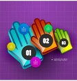 Colorful hand step options banner template vector image vector image