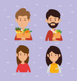 couple with supermarket groceries vector image