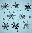Doodle snowflakes vector image vector image