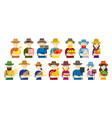 farmer gardener characters hold agriculture vector image vector image