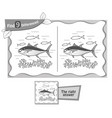find 9 differences game black tuna vector image
