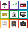 flat icon finance set of growth bank chart and vector image