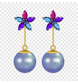 flower pearl earrings mockup realistic style vector image