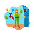 funny clown character and circus stage accessories vector image