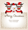 funny postcard with christmas reindeer and snowman vector image vector image