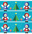 Geometric xmas pattern with angels vector image