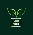 gmo free colored outline icon on dark vector image vector image