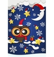 Greeting card with cute owls in Santa hats vector image vector image