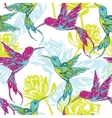 Hand draw tropical background with colibri bird