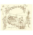 Hand made sketch grape fields and vineyards vector image