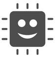 happy cpu flat icon vector image