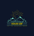highland camp logo design vector image vector image