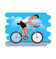 man athlete in bicycle vector image vector image