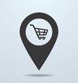 Map pointer with a shopping cart symbol vector image vector image