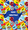 Merry christmas card - whimsical design vector image vector image