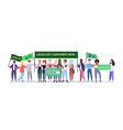 mix race people holding legalize cannabis now vector image vector image