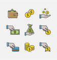 money and banking icons pack vector image vector image