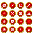 nautical icon red circle set vector image vector image
