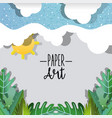 paper art nature scenery vector image vector image