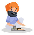 punjabi man cartoon character vector image vector image