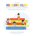reading club banner template cute little boys and vector image