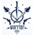 revolution and war emblem with dagger knife and vector image vector image