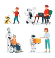 robots interact with people in various situations vector image