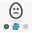 Sad egg face sign icon Sadness symbol vector image