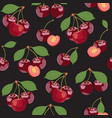 seamless pattern cherry fruits fresh organic vector image vector image