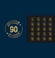 set anniversary logotype golden anniversary vector image vector image