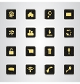 Set of icons on a black leather texture with gold vector image