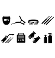 set of welding equipment vector image