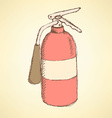 Sketch colorful extinguisher in vintage style vector image