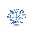 social marketing line icon concept social vector image vector image