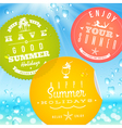 Stickers with summer vacation and travel emblems