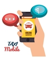 taxi mobile hand holds cellphone online service vector image
