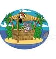 Tiki hut shark vector image