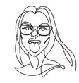 woman in eyeglasses showing tongue one line art vector image vector image