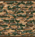 seamless pattern with military machines on camo vector image