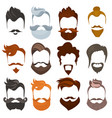 set of men cartoon hairstyles with beards and vector image