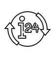 24 hour services line icon concept sign outline vector image