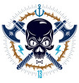 aggressive skull pirate emblem jolly roger with vector image vector image