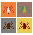 assembly flat shading style icons halloween spider vector image vector image