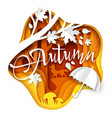 autumn layered paper art style vector image vector image