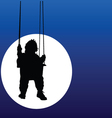 baby swings on a swing in the moonlight vector image