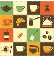 background with coffe and tea cup icons vector image