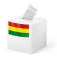 Ballot box with voting paper Bolivia vector image vector image
